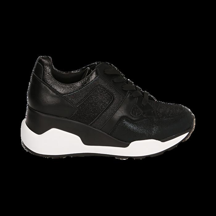Sneakers nere, zeppa 7 cm , Primadonna, 162800947EPNERO036