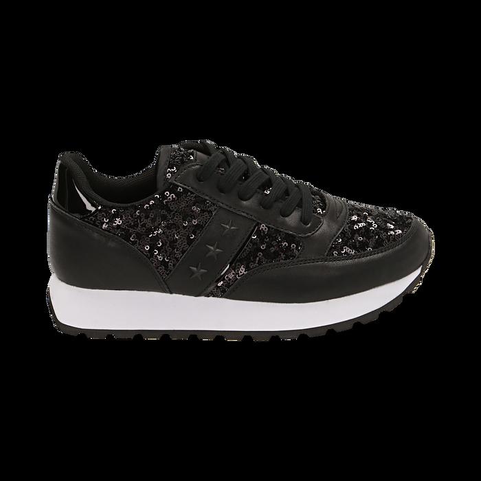 Zapatillas color negro con lentejuelas , Primadonna, 162619079PLNERO035