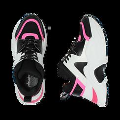 Dad shoes nero/fucsia in tessuto tecnico, zeppa 8 cm , Scarpe, 147580471TSNEFU035, 003 preview