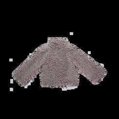Pelliccia grigia corta eco-shearling, manica lunga, Saldi, 12B432302FUGRIG, 006 preview