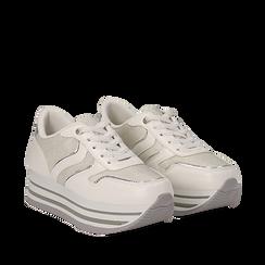 Sneakers flatform bianche in eco-pelle, zeppa 4 cm, Scarpe, 139300004EPBIAN035, 002a