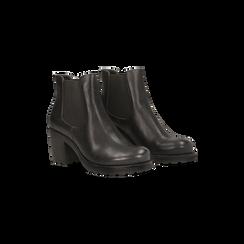 Chelsea Boots neri, tacco medio 7 cm, Scarpe, 120800819EPNERO, 002 preview