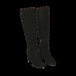 Stivali neri in microfibra, tacco 8,5 cm , Scarpe, 144972313MFNERO035, 002a