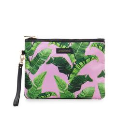 Pochette verde in raso con stampa jungle, Saldi Estivi, 115910014RSVERDUNI, 001a
