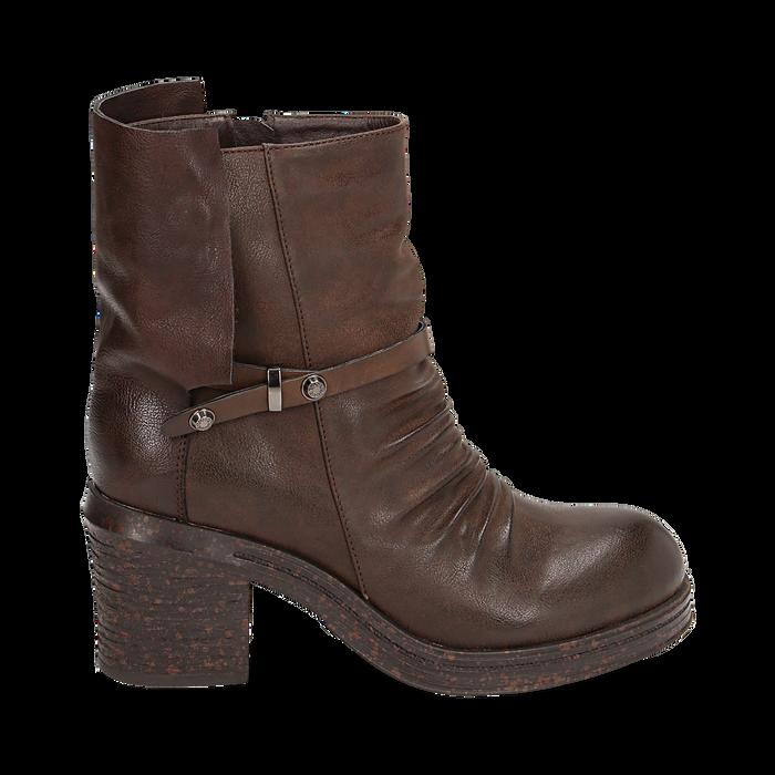 Biker boots marroni in eco-pelle, tacco 5 cm , Stivaletti, 140736661EPMARR