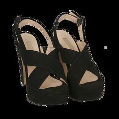 Sandali neri in microfibra, tacco 12,50 cm , Chaussures, 158480412MFNERO036, 002a