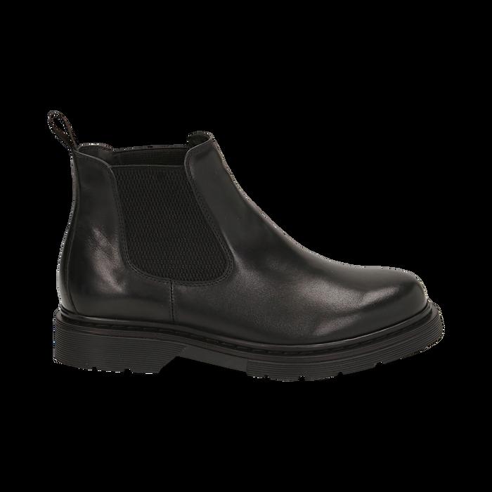 Chelsea boots neri in vera pelle, Stivaletti, 147729409PENERO036
