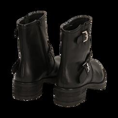 Biker boots neri con fibbie in pelle, tacco 4 cm , Stivaletti, 146262008PENERO036, 004 preview