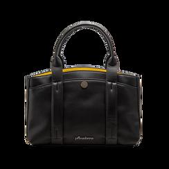 Mini bag nero-gialla in ecopelle, Saldi Borse, 122323219EPNEGIUNI, 001 preview