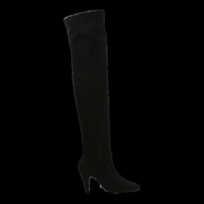 Stivali sopra il ginocchio  neri, tacco a cono 7,5 cm, Primadonna, 124981202MFNERO