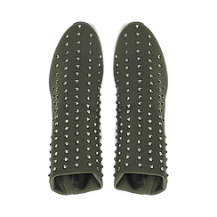 Sneakers verdi slip-on in lycra con cristalli, Primadonna, 122808611LYVERD035, 004 preview
