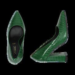 Décolleté verdi eco-pelle effetto coccodrillo, tacco 9,5 cm , Scarpe, 142186671CCVERD036, 003 preview