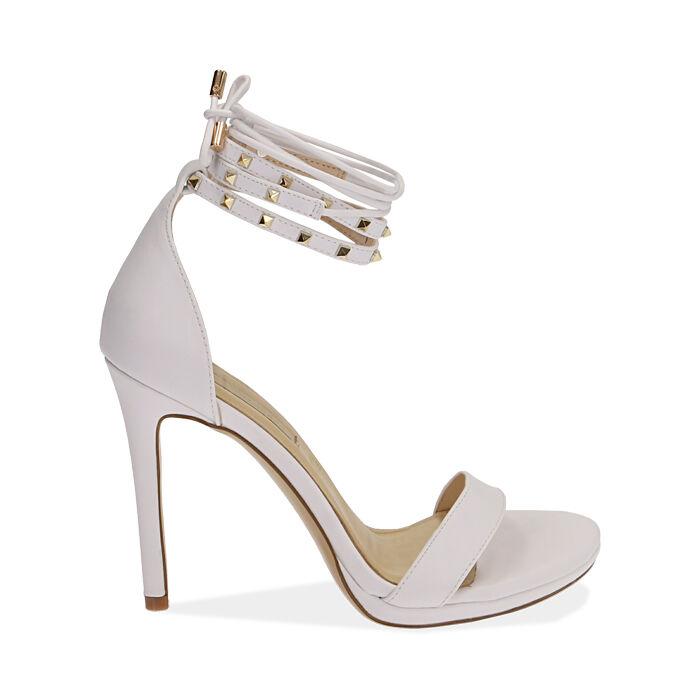 Sandali lace-up bianchi, tacco 11 cm, Primadonna, 172133431EPBIAN036