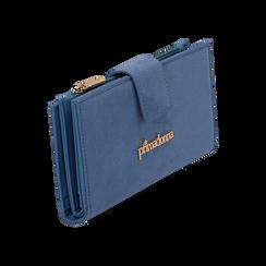 Portafogli azzurro in microfibra, Borse, 155122158MFAZZUUNI, 002 preview