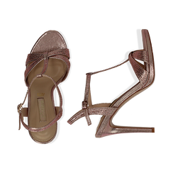 Sandalo rosa in laminato, tacco 10,50 cm, Sandali con tacco, 132127402LMROSA035, 003 preview