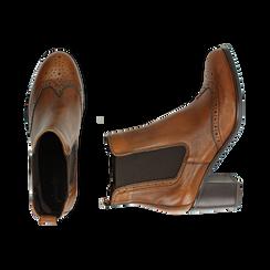 Ankle boots cuoio in pelle, tacco 7,50 cm, Primadonna, 167738004PECUOI036, 003 preview