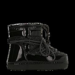 Scarponcini da neve neri dettagli in vernice e glitter, Scarpe, 124106721GLNERO037, 001a