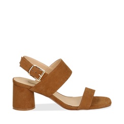 Sandali marroni in microfibra con doppia fascia, tacco 7 cm , Scarpe, 132182481MFMARR036, 001a