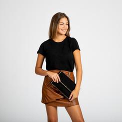Pochette nera in microfibra scamosciata con profili borchiette, Primadonna, 123308832MFNEROUNI, 006 preview