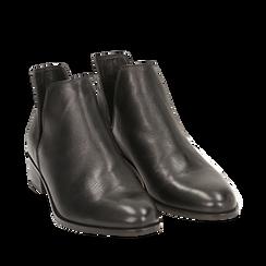 Botines en piel color negro, tacón 3 cm, Zapatos, 159407601PENERO036, 002a