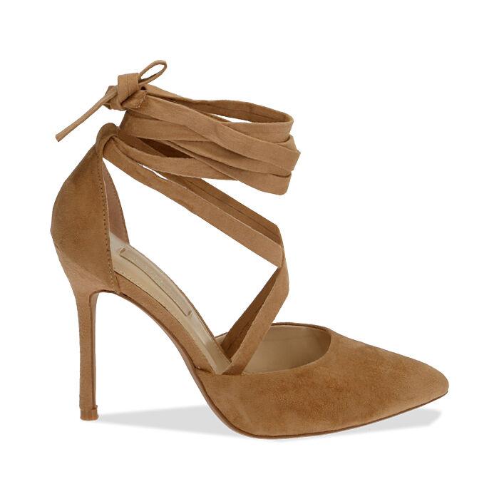 Escarpins à lacets cognac en microfibre, 11 cm, Chaussures, 172168652MFCOGN036