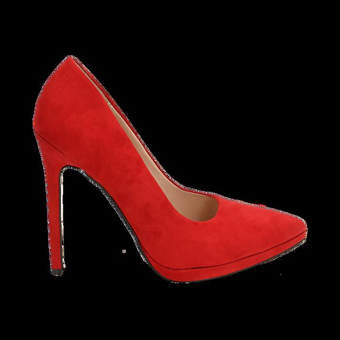 Décolleté rosse in microfibra con plateau, tacco 12 cm , Primadonna, 162106051MFROSS036