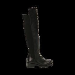 Stivali overknee neri stretch, tacco 4 cm , Primadonna, 163025001EPNERO037, 001 preview