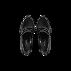 Mocassini décolleté neri con plateau, tacco 10 cm, Scarpe, 128401249EPNERO, 004 preview