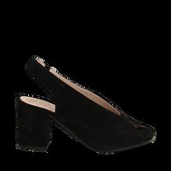 Slingback nere in camoscio, tacco 8 cm , Saldi, 13D602014CMNERO035, 001a