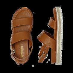 Sandali platform cuoio in eco-pelle, zeppa 4 cm, Saldi, 132172081EPCUOI036, 003 preview