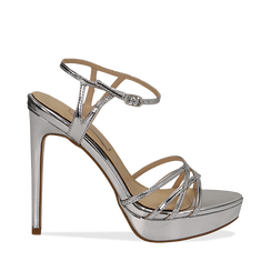 Sandali argento specchio con plateau, tacco stiletto 13 cm, Scarpe, 132182183SPARGE035, 001a