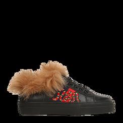 Sneakers nere con ricami animalier e dettagli in faux-fur, Primadonna, 126102020EPNERO035, 001a