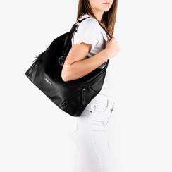 Maxi bag nera in eco-pelle, Primadonna, 153783218EPNEROUNI, 002a