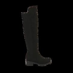 Overknee neri in microfibra, tacco 4 cm , Stivali, 143025001MFNERO035, 001a