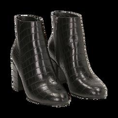 Ankle boots neri stampa cocco, tacco 7,5 cm , Stivaletti, 142762715CCNERO036, 002 preview