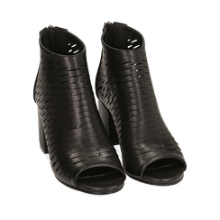 Botines open toe en eco piel perforada color negro, tacón 7 cm, Primadonna, 150726931EPNERO036, 002a