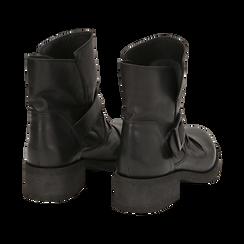 Biker boots neri con fibbia in pelle, tacco 4 cm , Primadonna, 147718215PENERO036, 004 preview