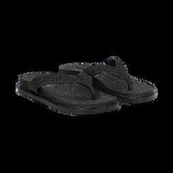 Zeppe infradito nere in pvc con strass, Saldi Estivi, 135810176PVNERO036, 002 preview