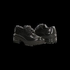 Francesine stringate nere con tacco multistrato basso, Scarpe, 120608956ABNERO, 005 preview