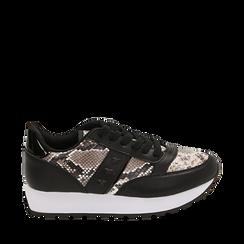 Sneakers bianco/nere stampa pitone, Primadonna, 162619079PTBINE035, 001a