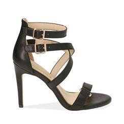 Sandali neri, tacco 10 cm , 172174213EPNERO036, 001a