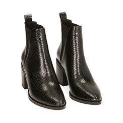 Ankle boots noirs imprimé vipère, talon 7,5 cm , Primadonna, 180622612EVNERO035, 002a