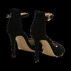 Sandali neri in microfibra, tacco stiletto 10,5 cm, Sandali con tacco, 132131511MFNERO037, 004 preview