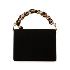 Mini bag nera in microfibra con manico foulard in raso, Primadonna, 155122756MFNEROUNI, 003 preview