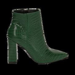Ankle boots verdi stampa cocco, tacco 9,5 cm ,