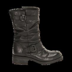 Biker boots neri con fibbia in pelle, tacco 4 cm , Primadonna, 147718218PENERO035, 001a