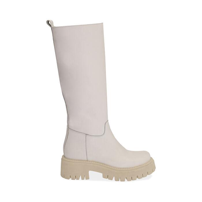 Stivali chunky bianchi in pelle, tacco 5 cm, Primadonna, 177261044PEBIAN036