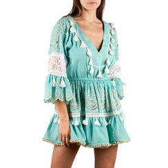 Caftan en tissu turquoise, Primadonna, 150500119TSTURCUNI, 001a
