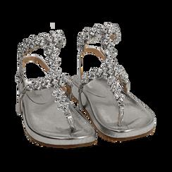 Sandali infradito gioiello argento in eco-pelle laminata, Chaussures, 154951992LMARGE036, 002 preview
