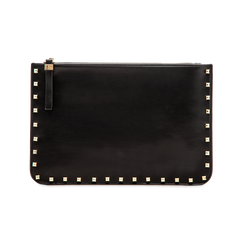Clutch nera in ecopelle con profilo mini-borchie, Primadonna, 123308330EPNEROUNI, 001 preview